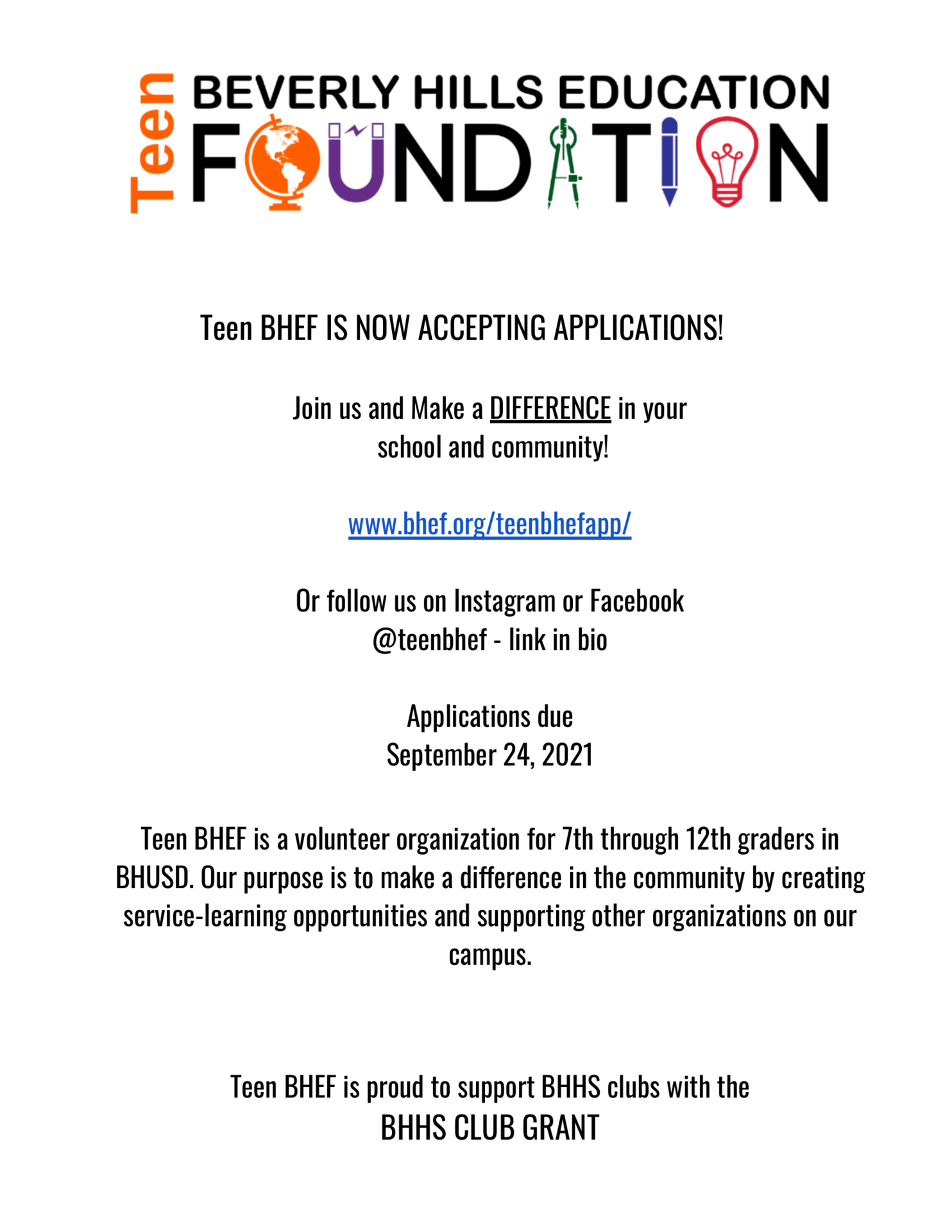 Teen BHEF Applications Now Open!