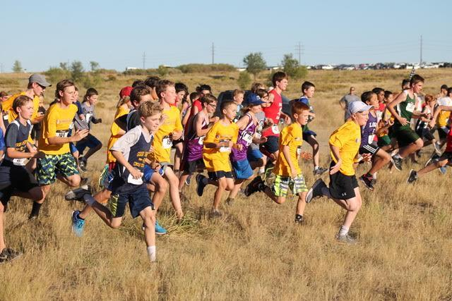 The Middle School Cross Country team competes at the Hawk Invitational.