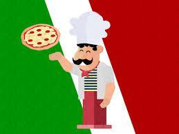 Clip art of chef tossing pizza