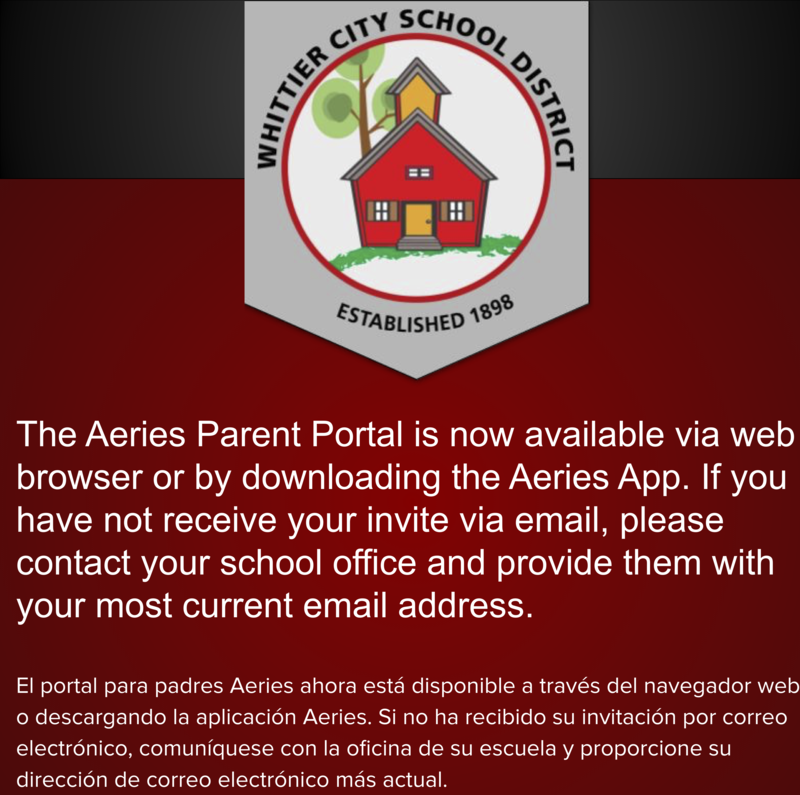 The Aeries Parent Portal is now available via web browser or by downloading the Aeries App. If you have not receive your invite via email, please contact your school office and provide them with your most current email address.