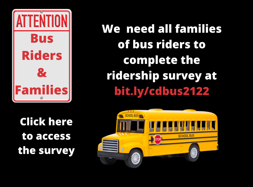 Click here to complete the bus ridership survey at bit.ly/cdbus2122