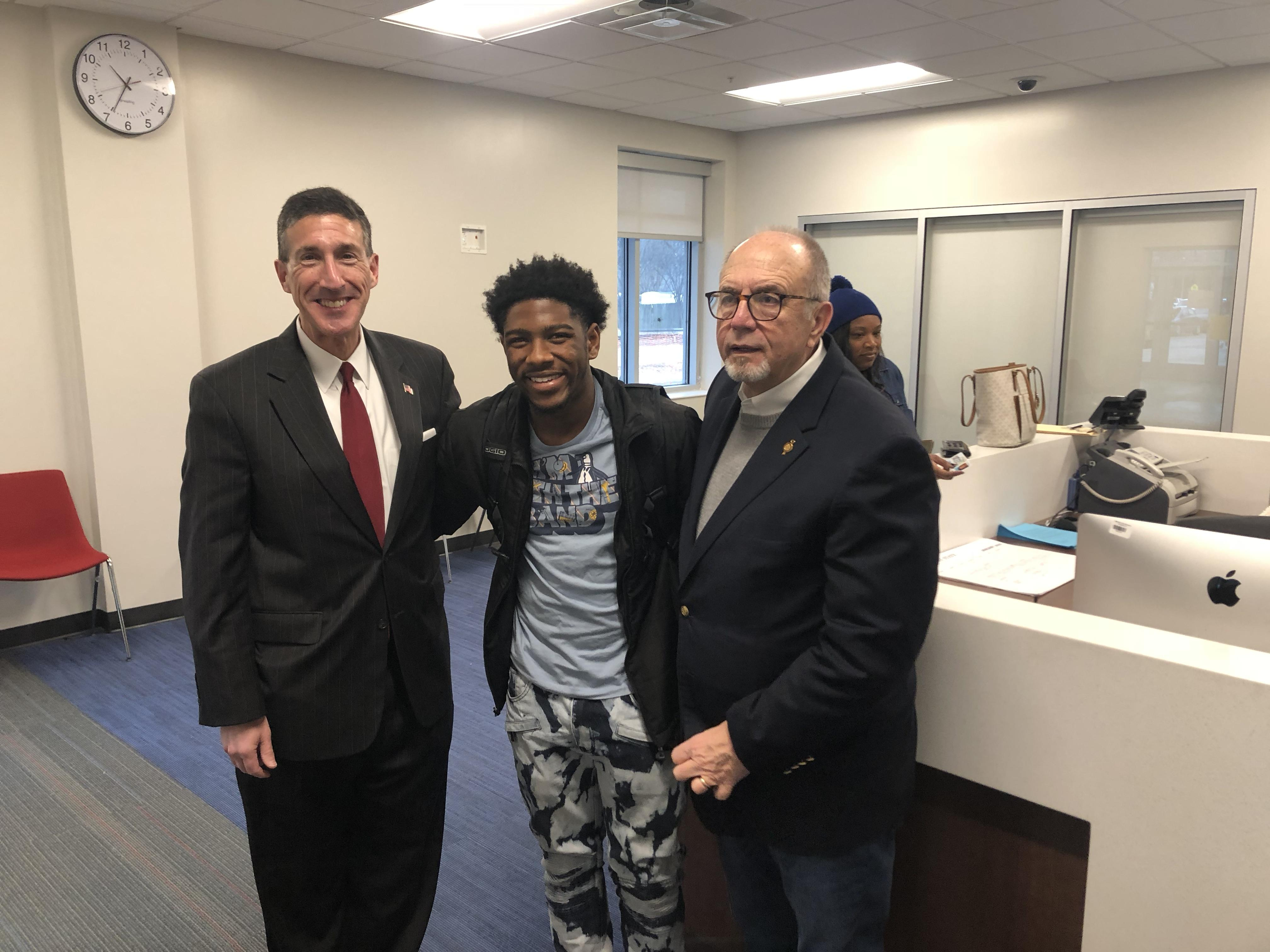 U.S. Congressman David Kustoff and Bartlett Mayor A. Keith McDonald with BHS Student