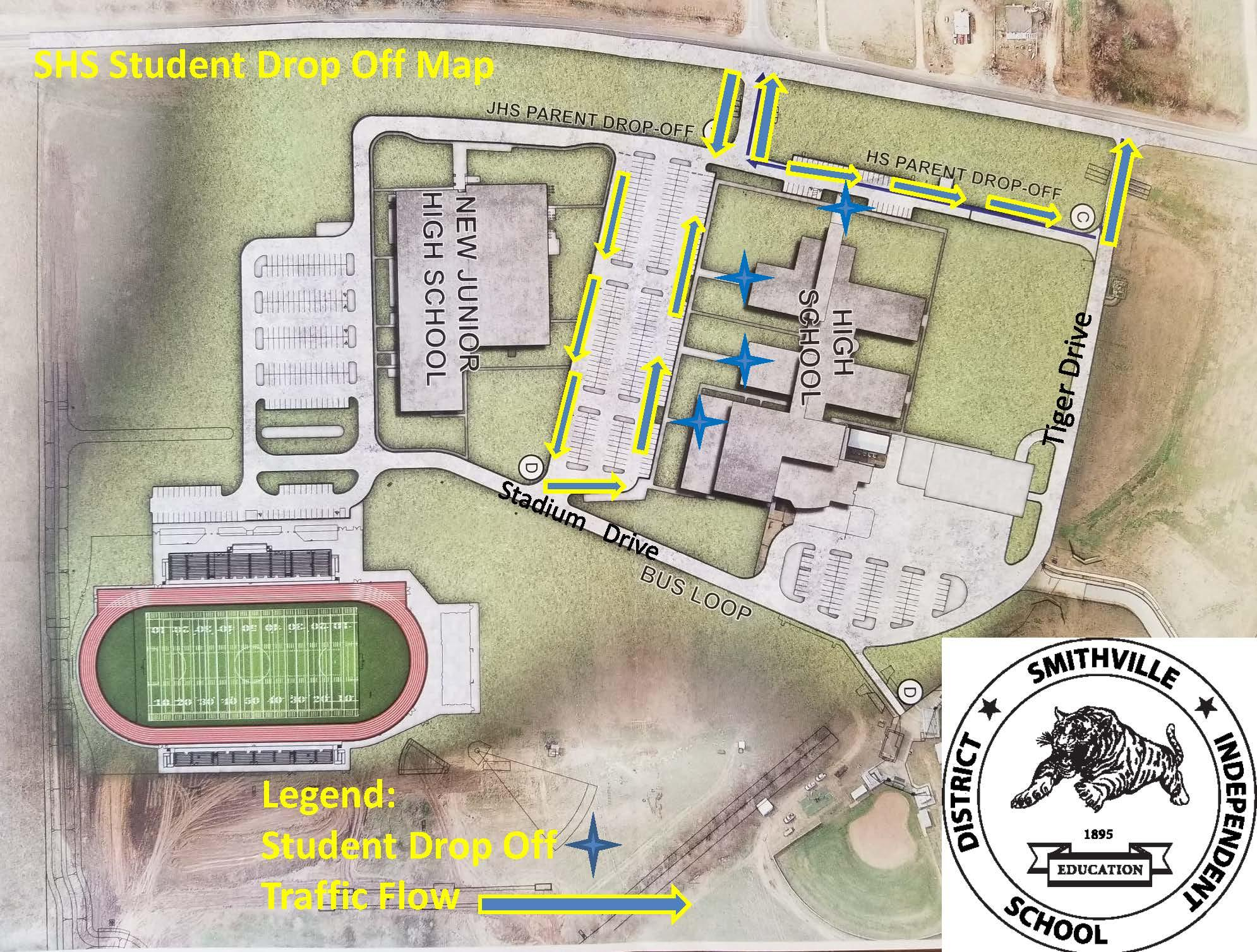 SHS Student Drop-off Map