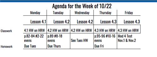 6th Grade Agenda for Week of 10/22