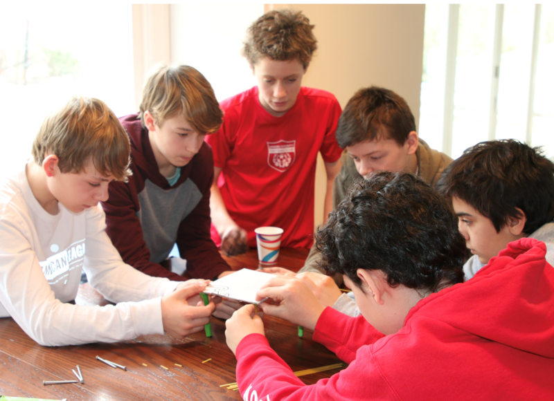 A team of Edison and Roosevelt Intermediate School students placed 1st in a mechanical problem solving category at the regional Odyssey of the Mind competition in March. (Clockwise from left):  Avery Keith (Grade 8, Edison), Nathan Reynders (Grade 8, Edison), Ted Crall (Grade 7, Roosevelt), Nolan Daly (Grade 8, Edison), Ethan Delforte (Grade 8, Edison), and Lucas Gunzberg (Grade 8, Edison).