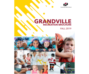 cover of Community Ed brochure with kids and adults playing sports