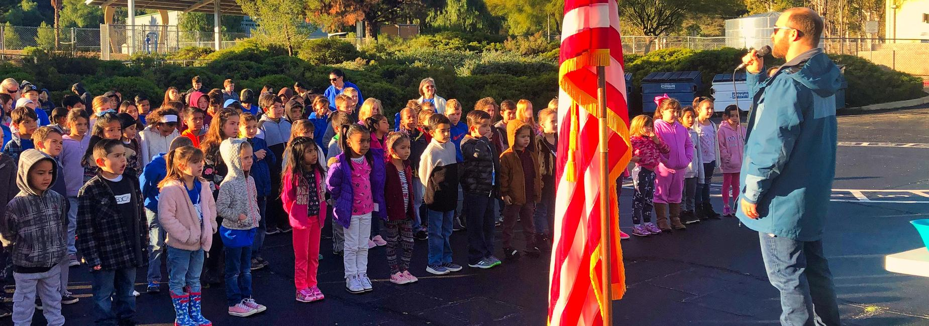 Students at the Friday flag ceremony