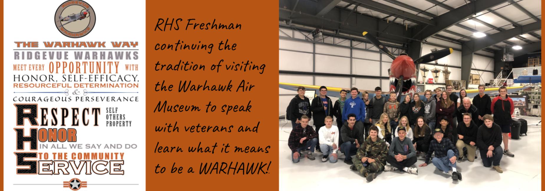 RHS Freshman attending Warhawk Air museum field trip.