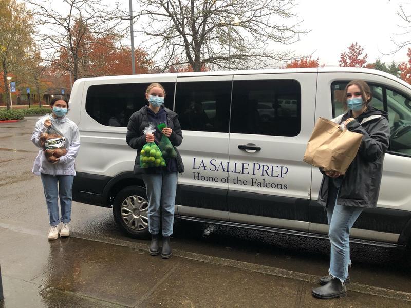 kids in front of van