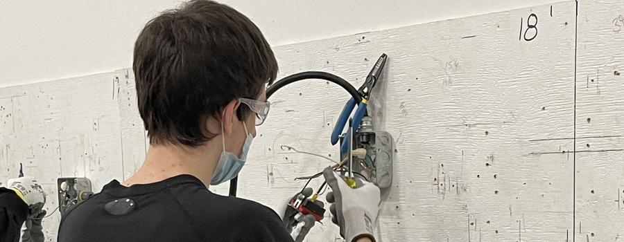 Nick Vanderlipp attending the Electrical Pre-Apprenticeship Program.