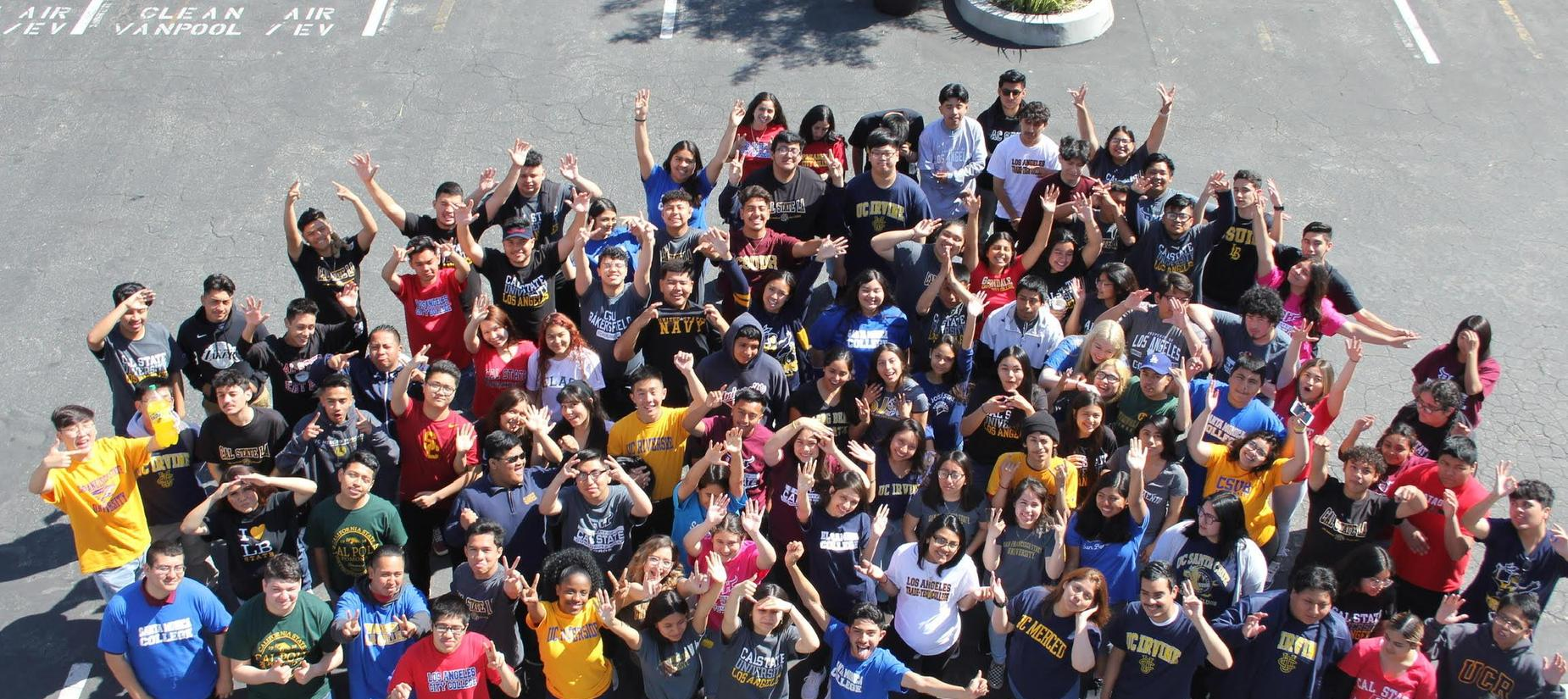 Class Celebrating their college acceptances