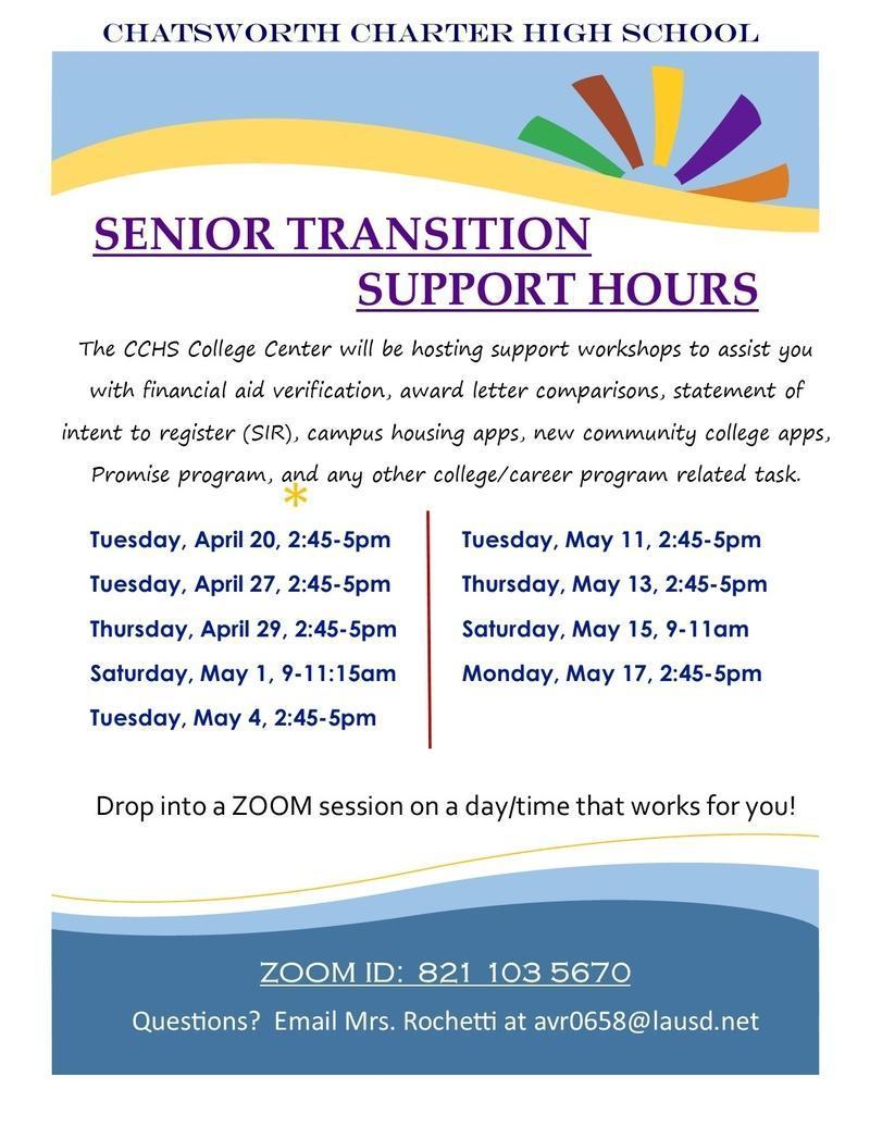 senior transition hours