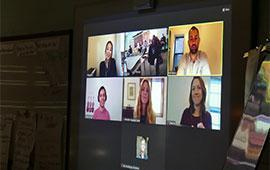 screen shot of students and musicians on Zoom call