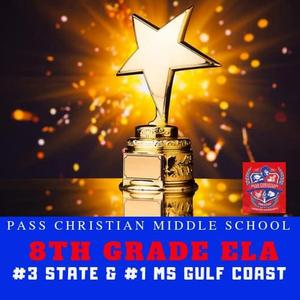 PCSD 8th Grade ELA Number 8 in state and Number 1 on the Coast