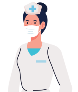 Woman dressed in nurses outfit wearing a face mask.