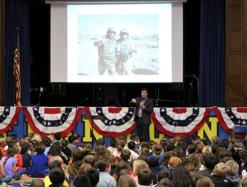 Former Franklin School student, Lieutenant Sean Joffe served 5 years in the U.S. Navy Civil Engineer Corps.  He addressed students at Franklin, which his 1st grade daughter attends, on Nov. 11.
