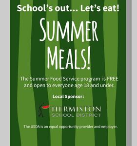 Flyer for summer meal program.