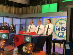 pic of 3 students on set of Hometown High Q