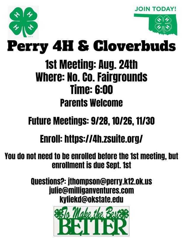 4H & Cloverbud meeting tonight at 6pm