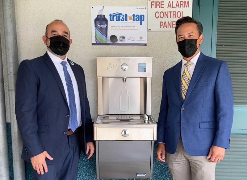 (from left to right): Valley County Water District General Manager Jose Martinez and Baldwin Park Unified Superintendent Dr. Froilan N. Mendoza meet at the BP STEM Academy to discuss future plans to install additional water bottle fill stations on BPUSD campuses.