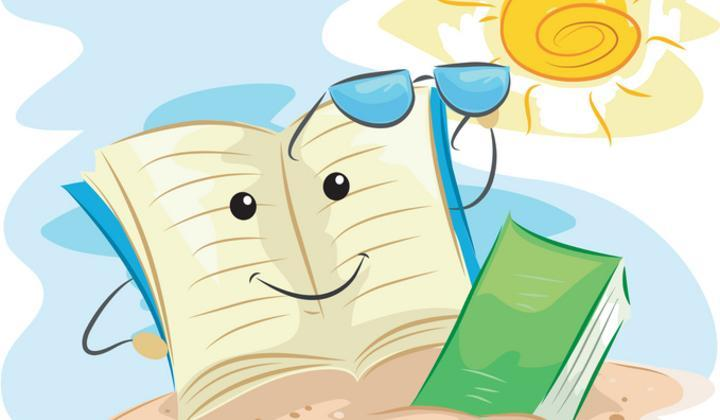 Summer reading book with sun glasses