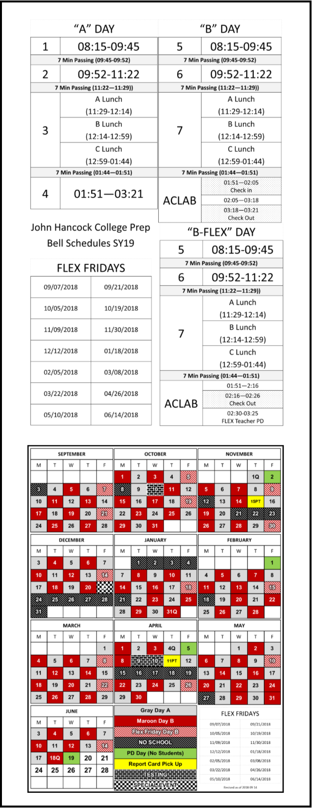 This is the bell schedules governing A Days and B Days at John Hancock College Prep High School in Chicago, IL