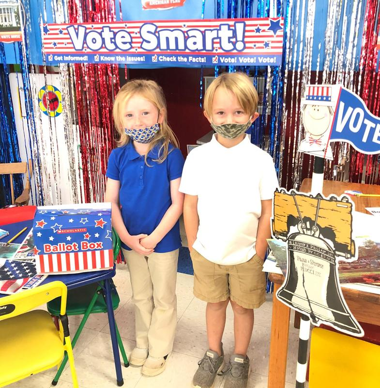 Southeast Elementary Kindergartners' Voting Action Photo