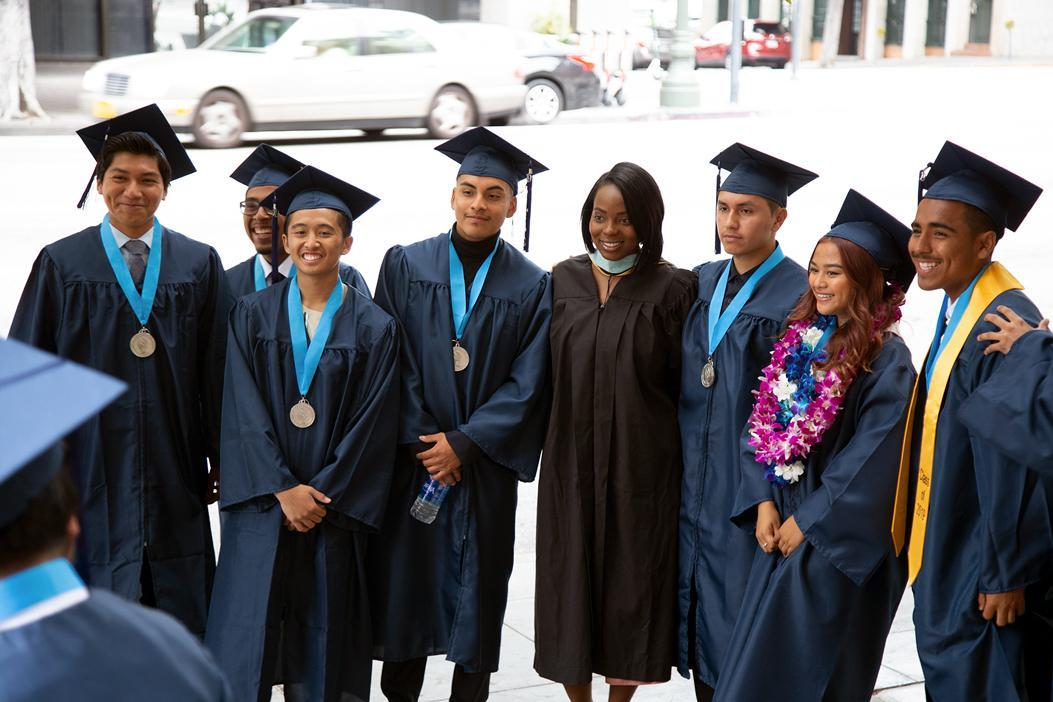 A group of CCVHS graduates and Ms. Bryant, English Teacher