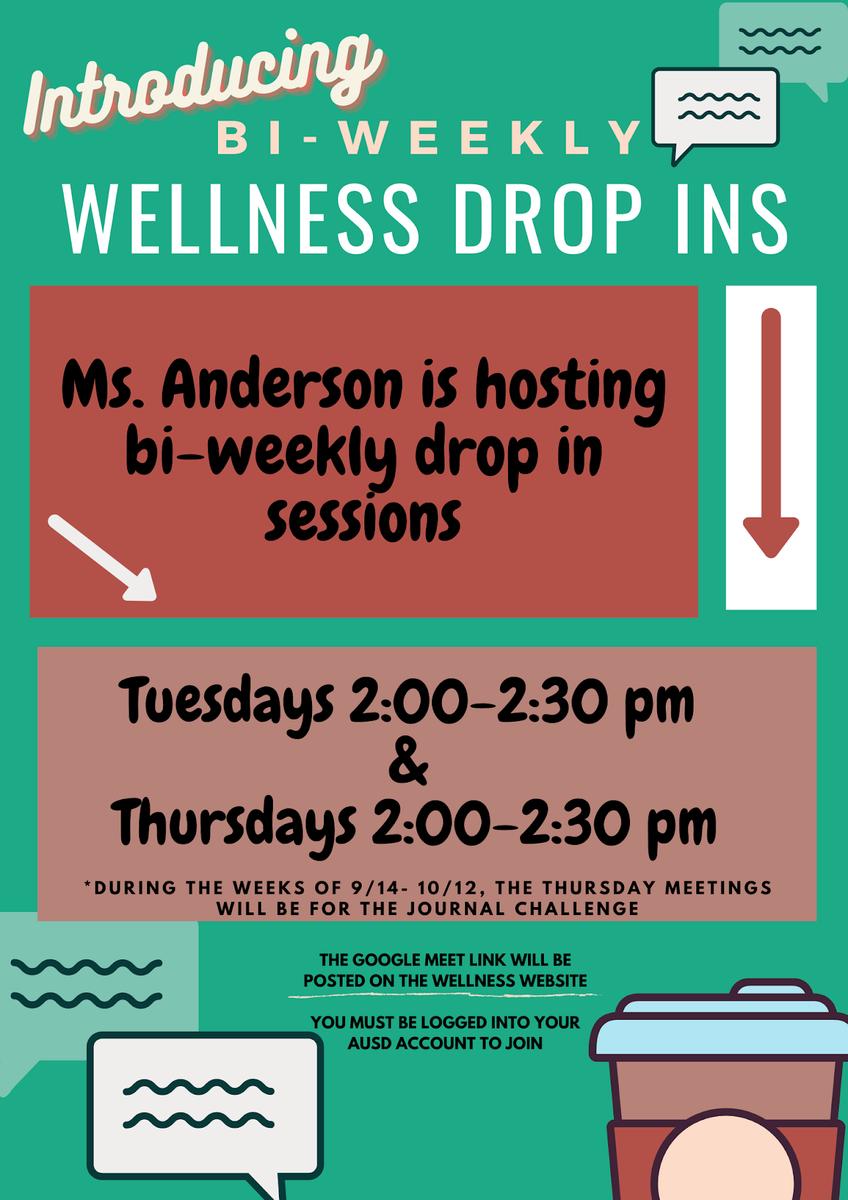 Arcadia High Wellness Center Student Drop Ins Flyer