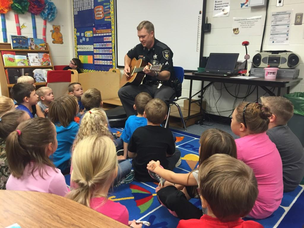 Officer Hebb came to French Creek for a mini concert.