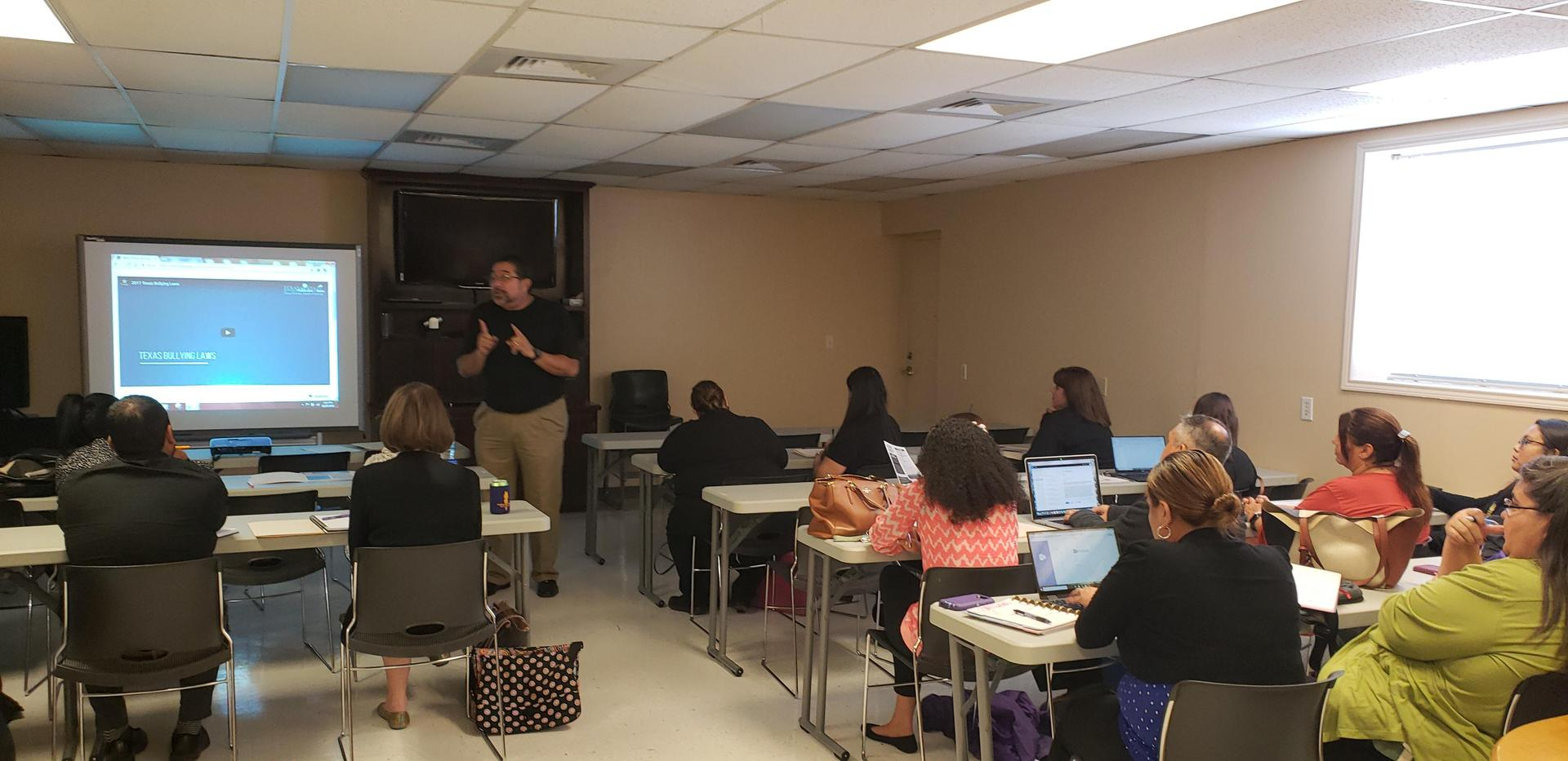 Mr. Errisuriz held a David's Law Training.  District administrators and counselors attended.