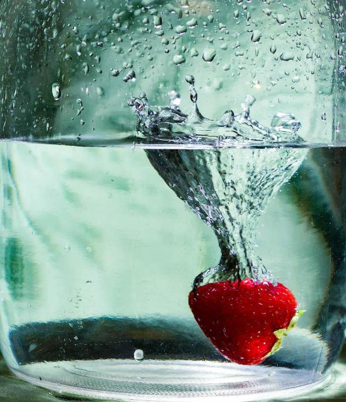 Fruit dropped in water