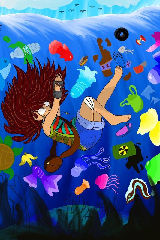 Girl falling into polluted ocean digital artwork