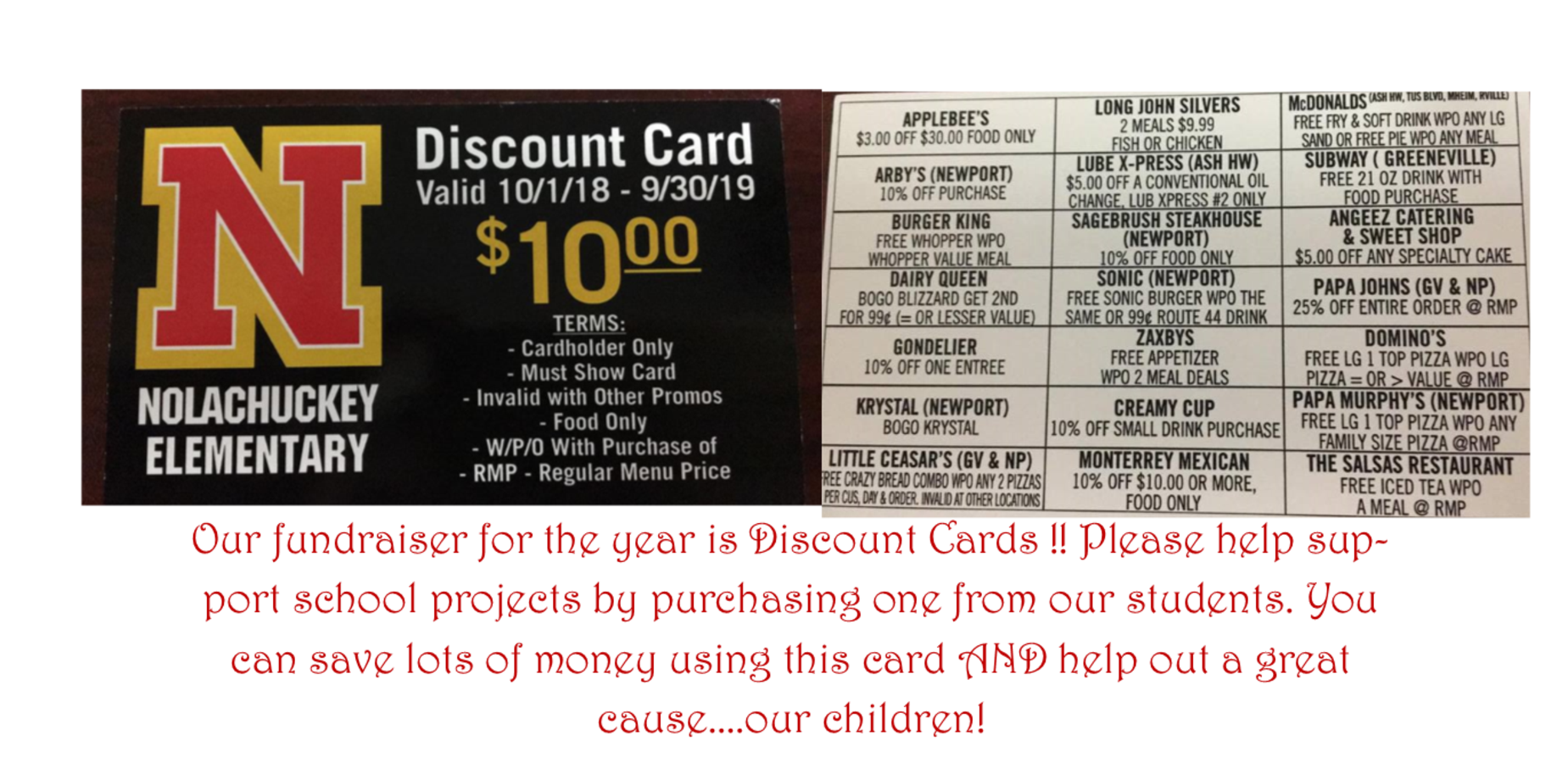 Photo of the front and back of the Nolachuckey School Discount Card
