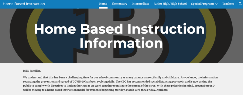 BISD home-based-instruction website Featured Photo