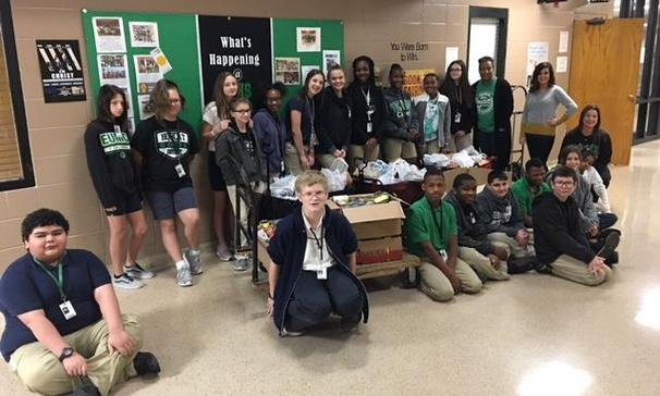 Red Ribbon Week donation to Eunice Food Bank