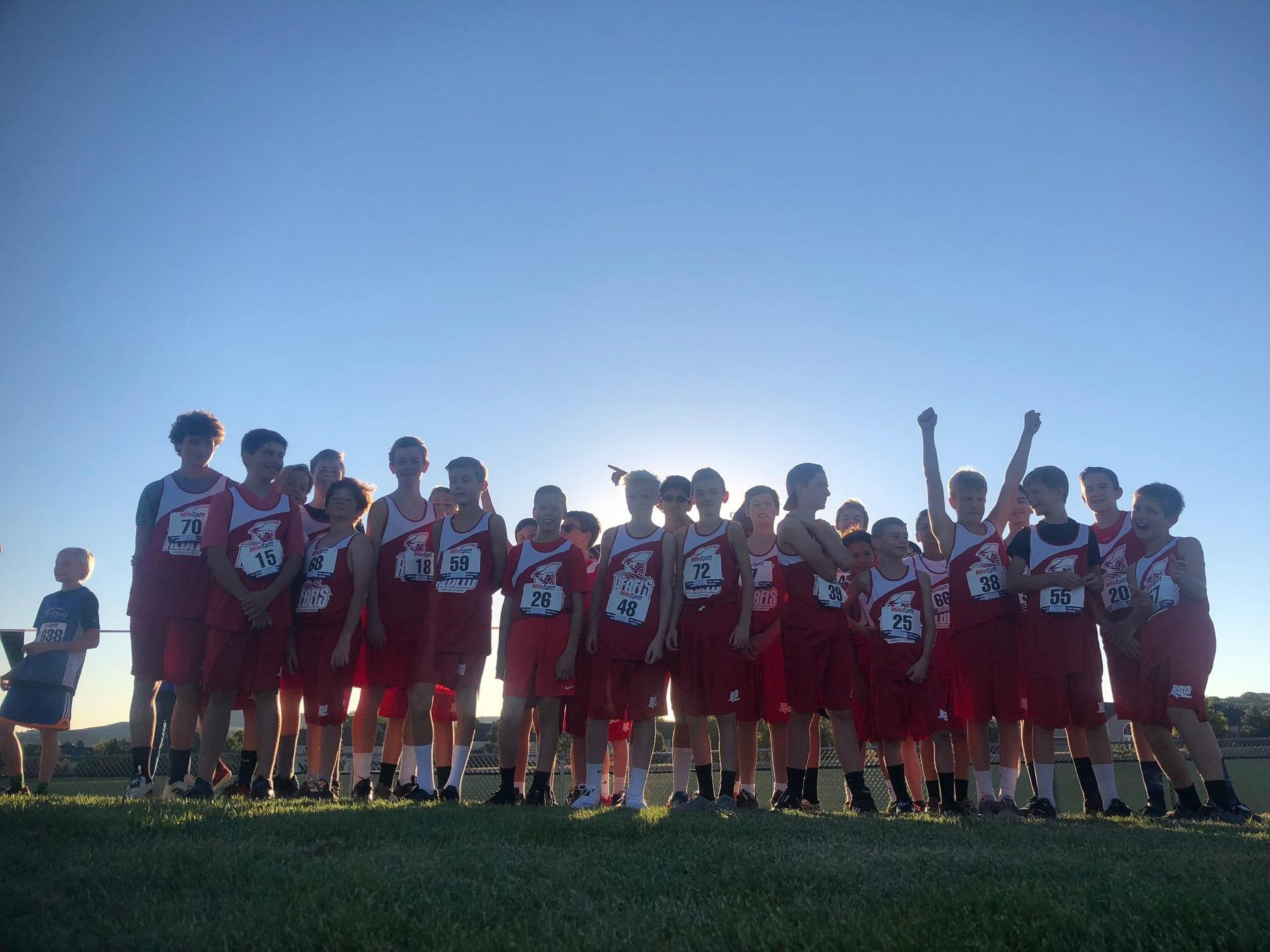 Rebels Cross Country athletic group photo.