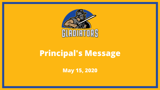 Principal's Update Image. Gladiator with a shield.