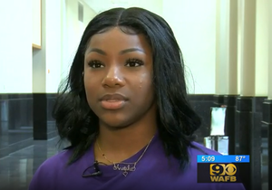 photo clip of PRAMS student Anaisha Knighted in WAFB interview related to LOSFA