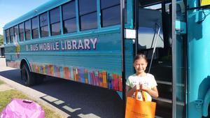 Madilynn Bell was the first official B. Bus sign up in Middleville during a trial run.