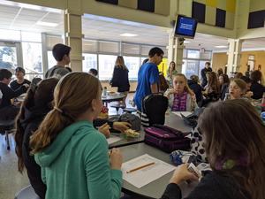 students playing trivia at lunch
