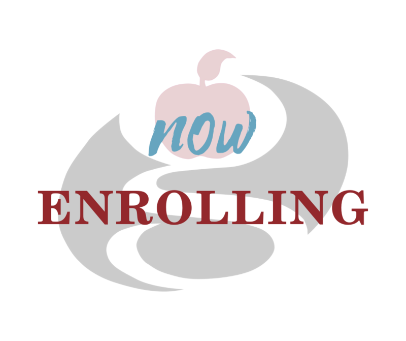 now enrolling with logo in background