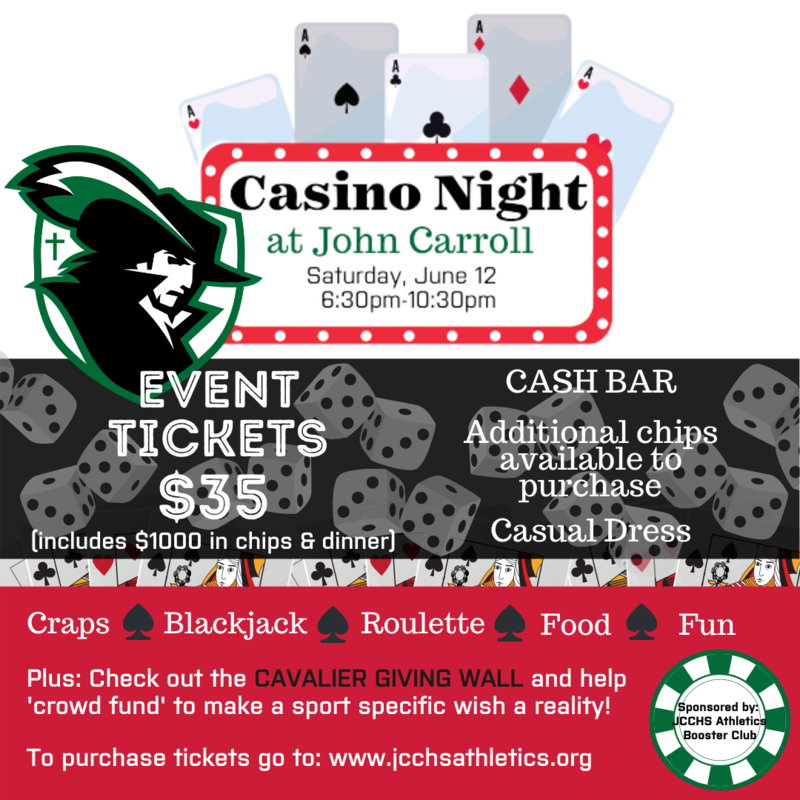 JCCHS Booster Club to host Casino Night benefiting Cavalier Athletics! Featured Photo