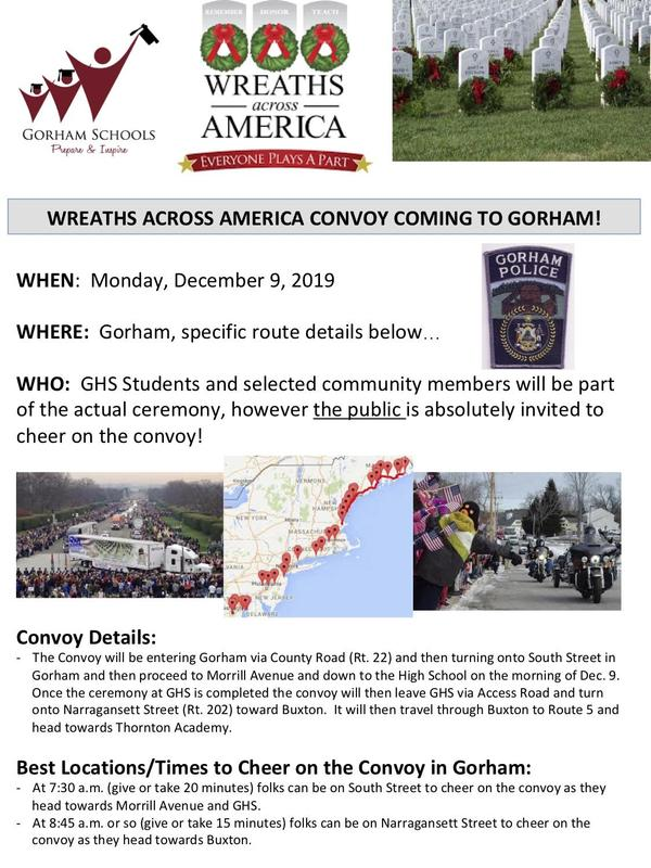 Wreaths Across America Convoy Coming to Gorham on Monday, Dec. 9! Thumbnail Image