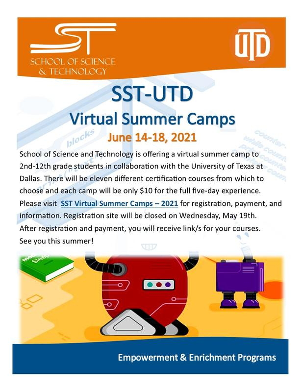 SST-UTD Virtual Summer Camps Featured Photo