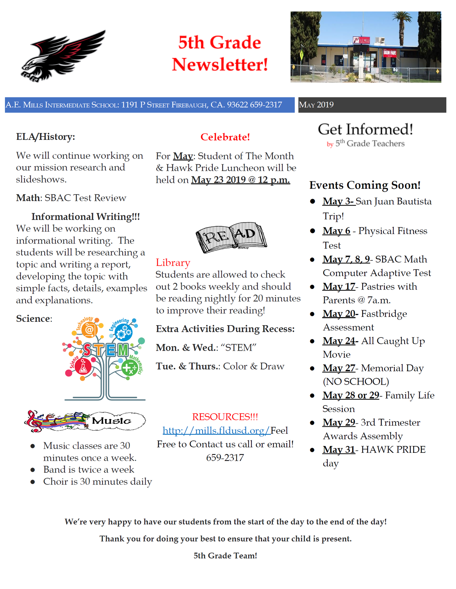 May 5th grade newsletter
