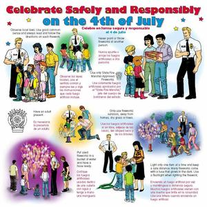 Images teaching how to celebrate the 4th of July safely