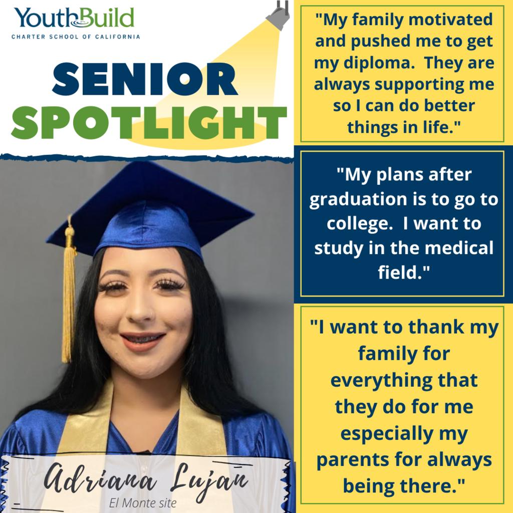 Senior Spotlight for graduate Adrianna Lujan