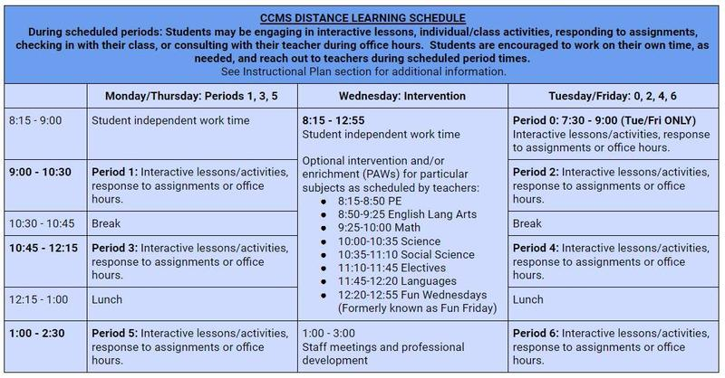 CCMS Distance Learning Schedule Thumbnail Image