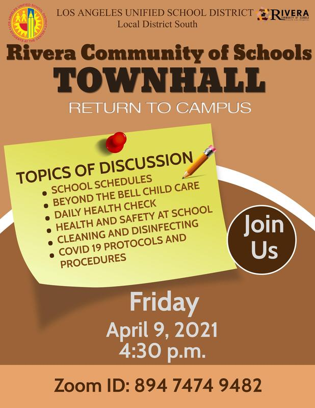 Rivera Community of Schools: Townhall - Return to Campus Featured Photo